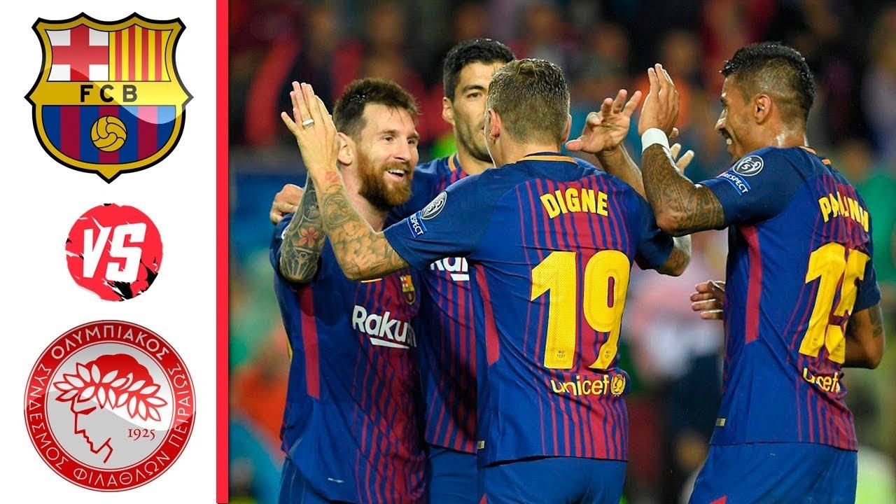 Barcelona 3 - 1 Olympiakos (Oct-18-2017) UEFA Champions League Highlights