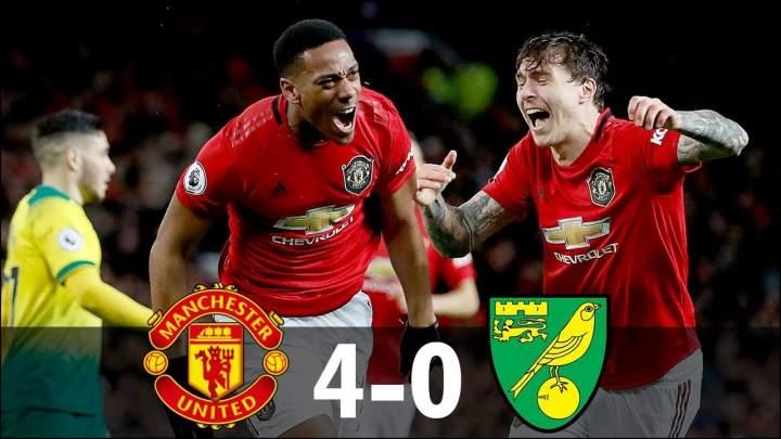 Manchester Utd 4 - 0 Norwich (Jan-11-2020) Premier League Highlights