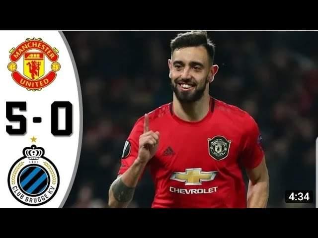 Manchester Utd 5 - 0 Club Brugge KV (Feb-27-2020)  Europa League Highlights