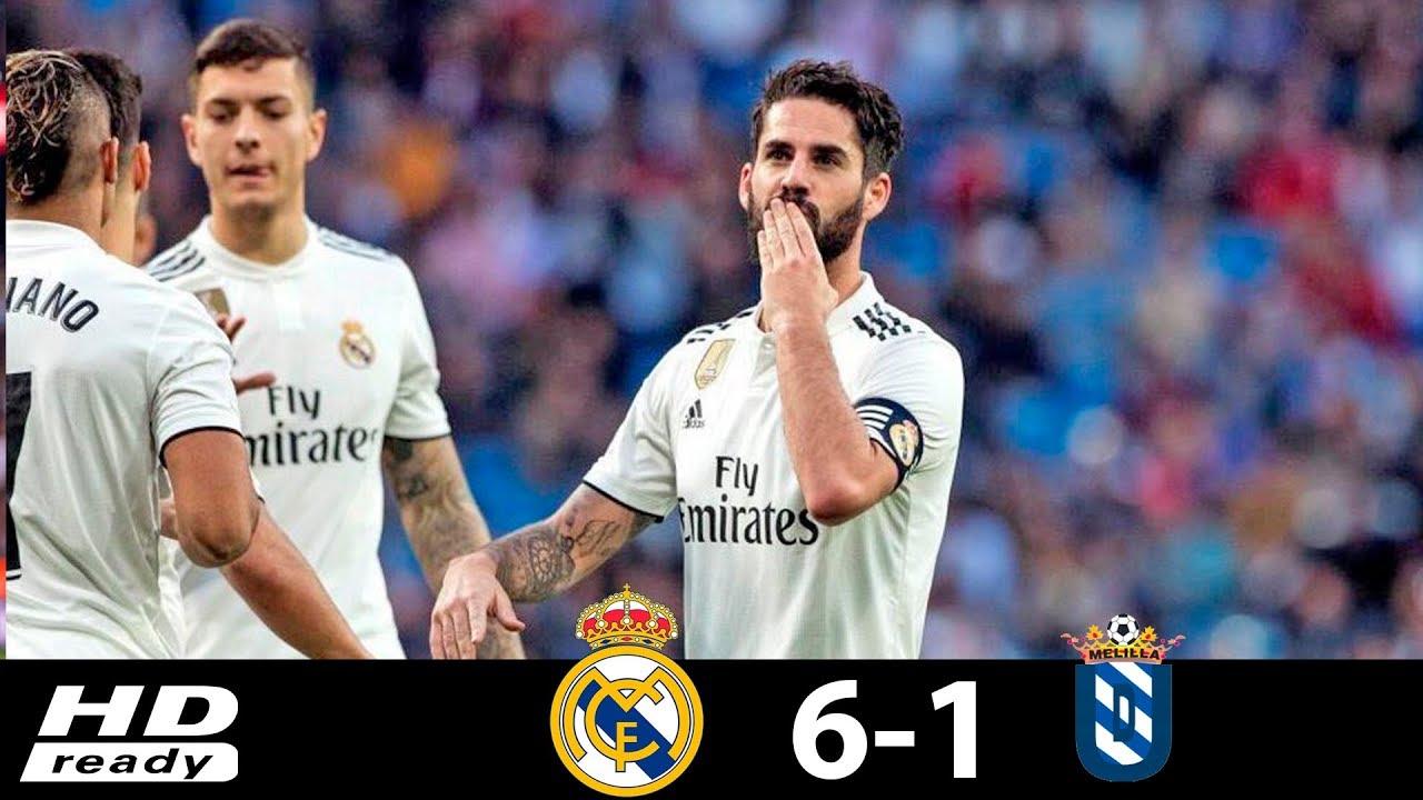 Real Madrid 6 - 1 Melilla (Dec-06-2018) Copa del Rey Highlights