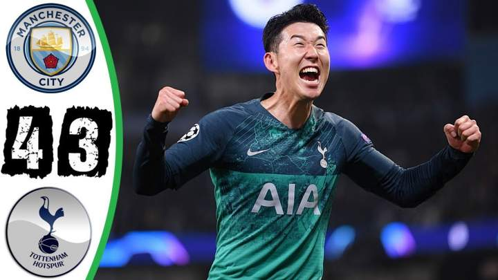 Manchester City 4 - 3 Tottenham Hotspur (17-APR-2019)  Champions League Highlights