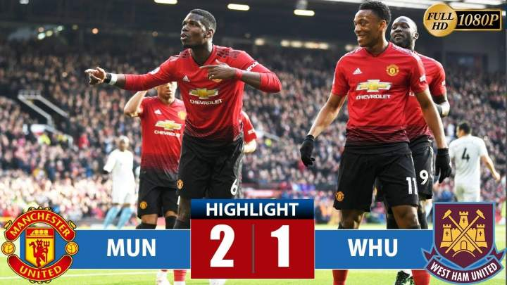 Manchester United 2 - 1 West Ham (13-APR-2019) Premier League Highlights