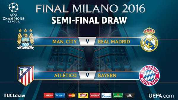 #UCLDraw: Man City Face Real Madrid, Atletico Play Bayern in UCL Semi Final