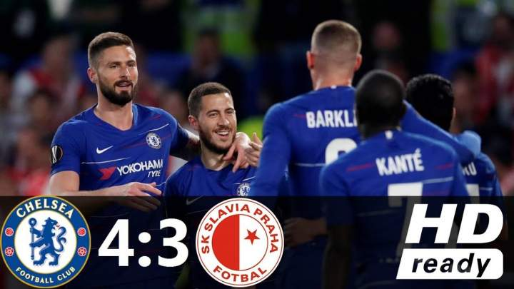 Chelsea 4 - 3 Slavia Prague (Apr-18-2019) UEFA Europa League Highlights