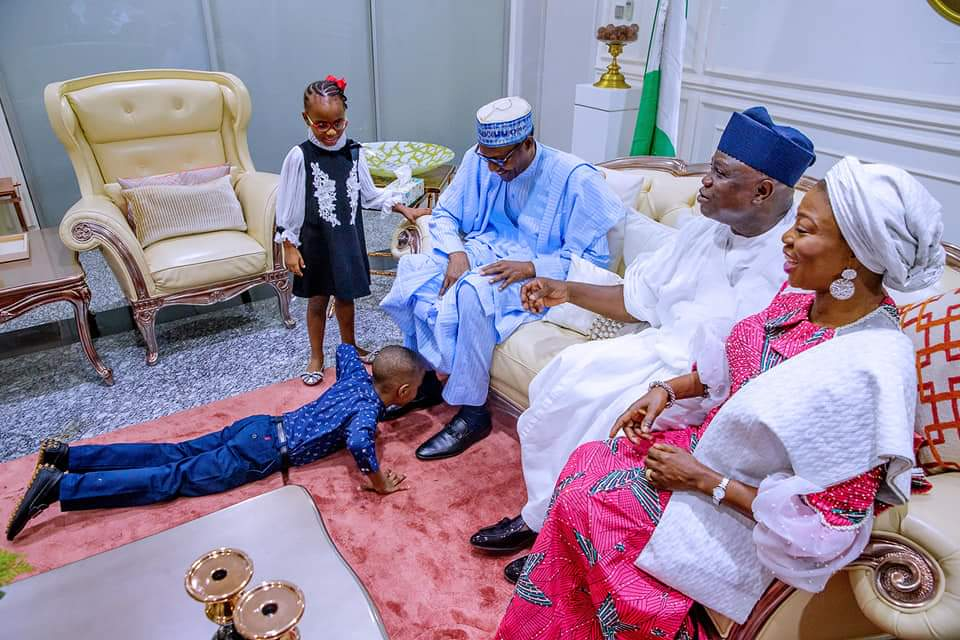 See the Moment Lagos State Governor's Son Prostrated for President Muhammadu Buhari