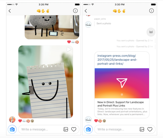 Instagram Direct Messages Now Has Support For Landscape And Web Links [Details]