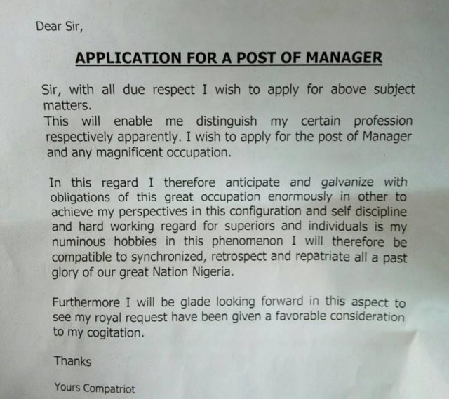 LOL !! See this funny application letter written by a graduate in Abuja (photo)
