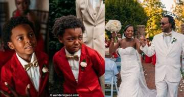 6 year old boy warms hearts after crying uncontrollably as his mother walks down the aisle. (Photos)