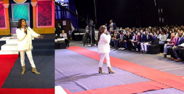 Tonto Dikeh ministers to thousands at church in South Africa.
