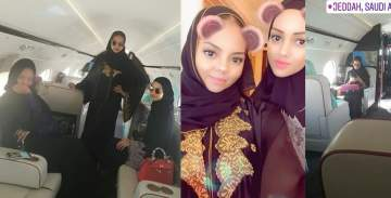 Indimi daughters fly private jet back to Nigeria from Saudi Arabia. (Photos)