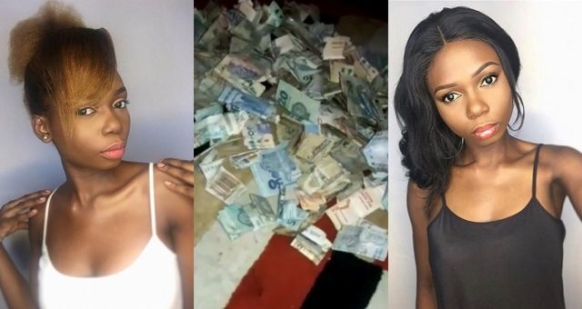 Young Nigerian hair seller shows off the money she made from her piggy bank after 10 months of saving