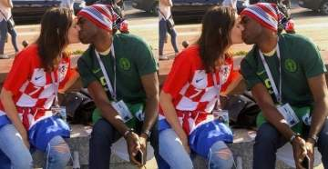2018 World Cup; Nigerian man kisses his Croatian babe in Russia. (Photo)