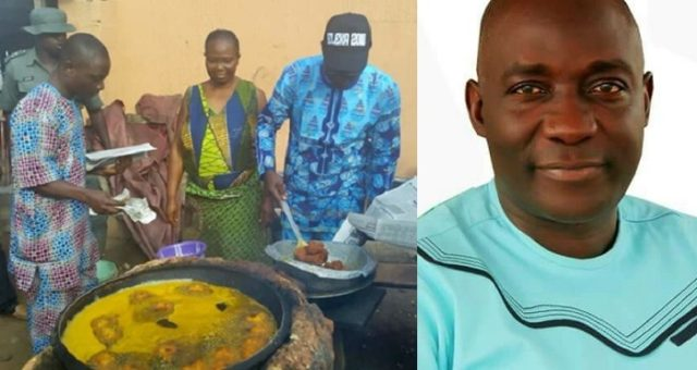 Ekiti Governorship candidate, Kolapo Olusola, spotted frying Akara as he campaigns for votes. (Photos)