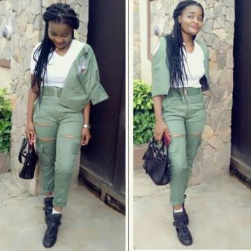See How This Female Corps Member Rocked Her NYSC Uniform | Photo