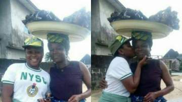 NYSC corper shares photo of her Mom who sold fish to finance her Education