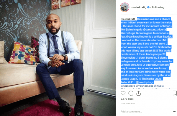 Banky W Shades Oyemykke After Calling Him Out On Social Media