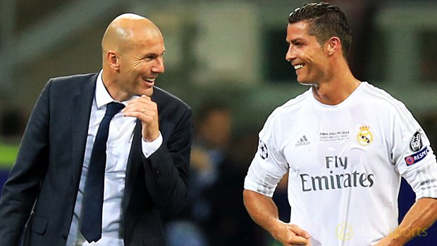 Real Madrid Coach Zinedine Zidane Cristiano Ronaldo