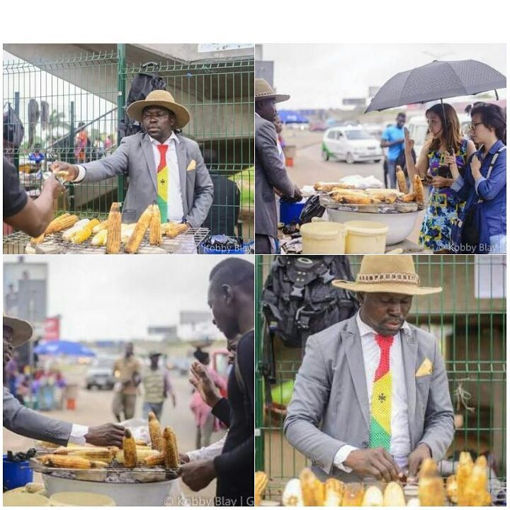 See Swag! Roasted Corn Seller Spotted Dressed In Suit, Tie & Hat (Photos)