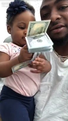 Davido Lets His Daughter Hailey Play With Dollar Bills Lailasnews3
