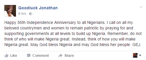 Ex-President Jonathan's Independence Message