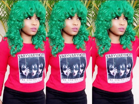 Halima Abubakar Stuns In Green Hair