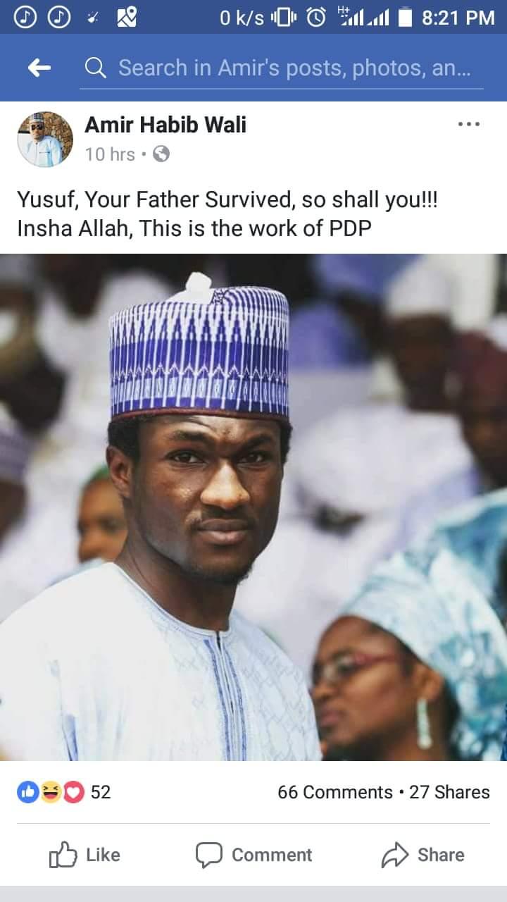 Yusuf Buhari's Accident: Facebook User Blames PDP