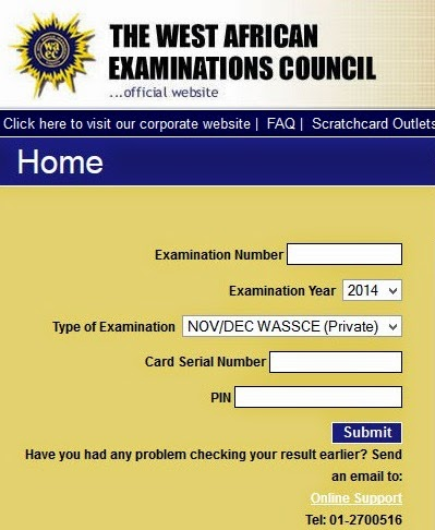 WACE RESULT CHECKER 2015 AND 2016