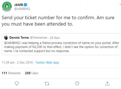 Hilarious! Nigerians Drag JAMB's Twitter handler for wrong grammar