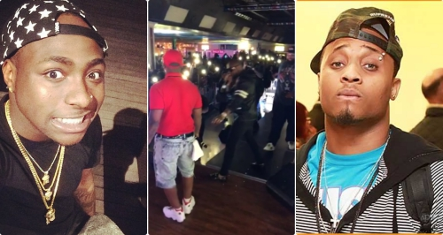 Video: Davido angrily collects microphone from Sina Rambo while performing on stage in US