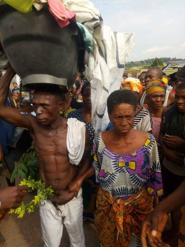Old woman caught in the act with younger lover in Ebonyi State Paraded By Villagers