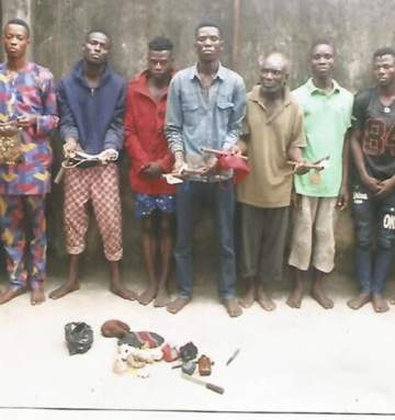 Ogun State Police Arrest 9 Fleeing Cultists With Assorted Charms