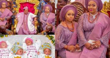 Photos of 80-year-old Alafin Of Oyo And his Oloris at the naming ceremony of their set of twins