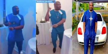 """""""Came all the way to this wedding maybe I will see wife"""" - Don Jazzy Says As He Shows Off His Funny Dance Moves"""