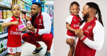 Flavour And Daughters Rock Matching Arsenal Outfit To Celebrate Wenger