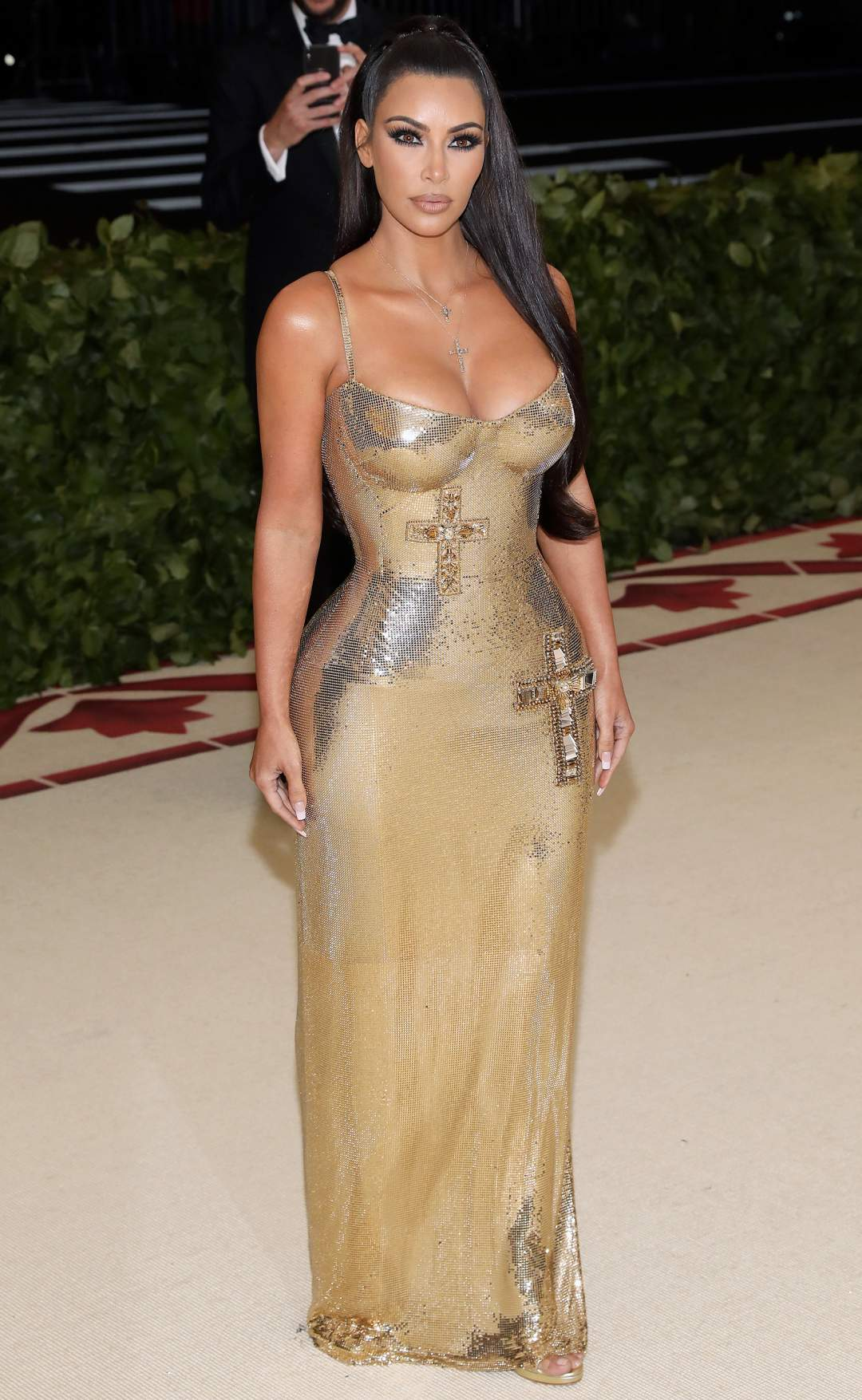 Mandatory Credit: Photo by Amy Sussman/WWD/REX/Shutterstock (9662981ek)Kim Kardashian WestThe Metropolitan Museum of Art's Costume Institute Benefit celebrating the opening of Heavenly Bodies: Fashion and the Catholic Imagination, Arrivals, New York, USA - 07 May 2018