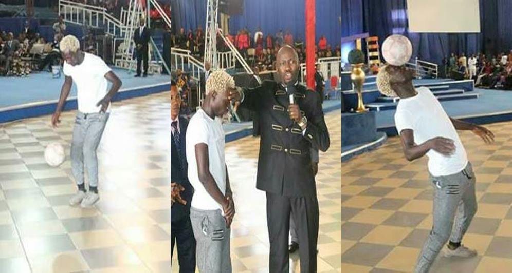Apostle Suleman Gives Football Juggler N500k After Performing Live In His Church (Photos)