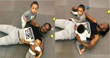 Daddy duties: Adorable photos of Paul Okoye spending quality time with his twins, Nadia & Nathan