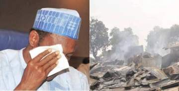 President Buhari in tears over Azare market fire in Bauchi