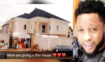Super Eagles midfileder, Raheem Lawal, shares photo of the house he just built for his mum