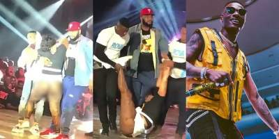 Lady Faints On Stage After Hugging Wizkid In Ghana (Photos)