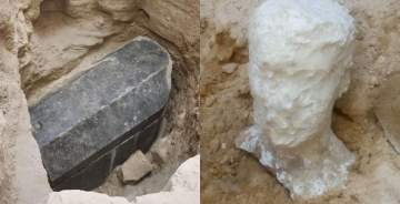 Archaeologists Found A Massive 2000-year-old Black Stone Coffin and a Headstone In Egypt, And The Internet Is Freaking Out