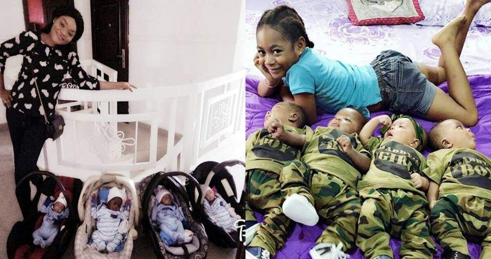 Check out these lovely photos of a Nigerian woman, her daughter, and adorable quadruplets
