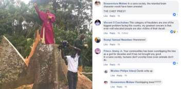 Priest cuts down tree allegedly hindering people's progress in warri (photo)