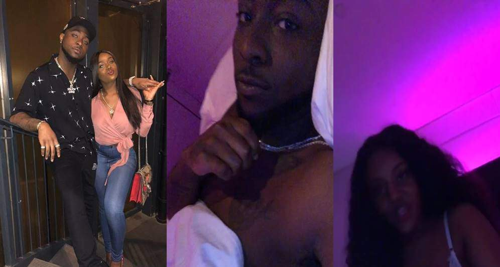 Lovely video of Davido relaxing in bed with his girlfriend, Chioma
