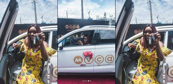 Bisola Finally Receives Her 'Trail Blazing' SUV from AMVCA (photos)