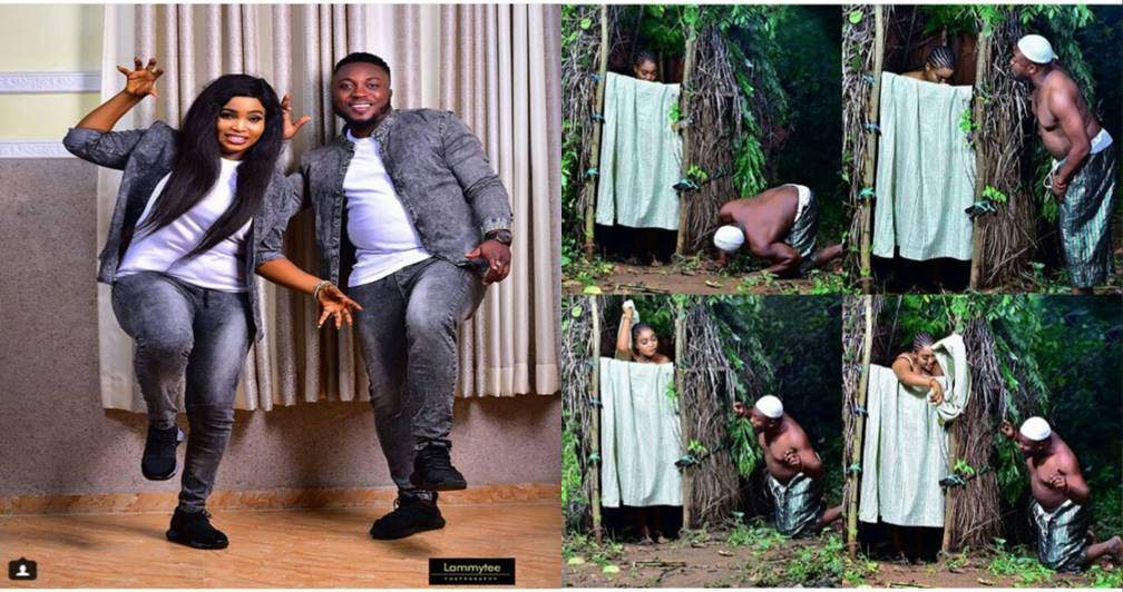 Man peeps at his bathing fiancee in unusual pre-wedding photos