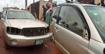 Nigerian Man Cries Out After Burglars Strip His Car Naked (Photos)