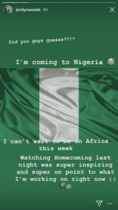 Jordyn Woods Announces On Instagram Shes Coming To Nigeria