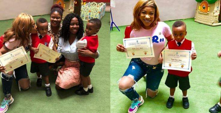 Tonto Dikehs Sons Award Shows His Surname Has Officially Been Changed To Dikeh Photos