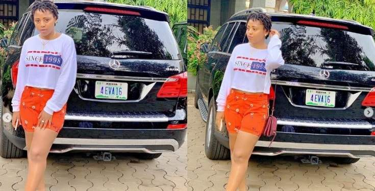 Regina Daniels Shows Off Her Customized 4 Eva 16 Plate Number On Her Mercedes Benz SUV